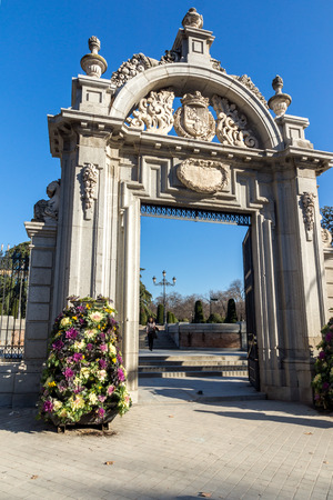 MADRID, SPAIN - JANUARY 22, 2018: Puerta Felipe IV and Plaza Parterre in The Retiro Park in City of Madrid, Spain