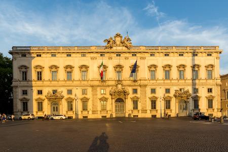 ROME, ITALY - JUNE 24, 2017: Sunset view of Palazzo della Consulta at Piazza del Quirinale in Rome, Italy