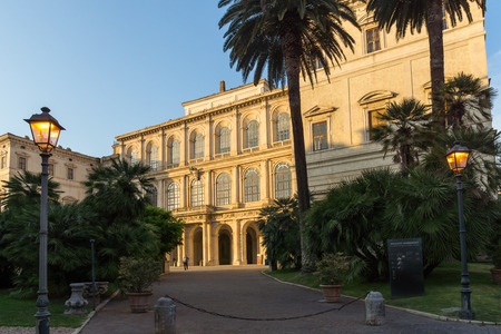 ROME, ITALY - JUNE 24, 2017: Yellow Sunset at Sunset Palazzo Barberini - National Gallery of Ancient Art in Rome, Italy