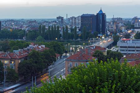PLOVDIV, BULGARIA - MAY 24, 2018: Amazing Night Panorama to City of Plovdiv from Nebet Tepe hill, Bulgaria 에디토리얼