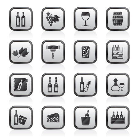 Wine industry objects icons -vector icon set