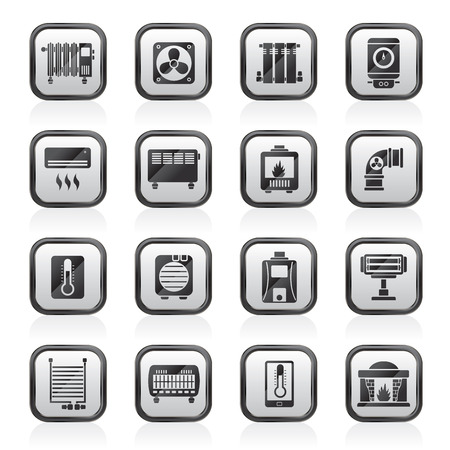 Home Heating appliances icons - vector icon set Vector Illustration