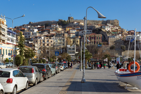 KAVALA, GREECE - DECEMBER 27, 2015: Panoramic view of embankment of city of Kavala, East Macedonia and Thrace, Greece Editorial