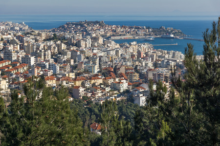 KAVALA, GREECE - DECEMBER 27, 2015: Panoramic view to city of Kavala, East Macedonia and Thrace, Greece