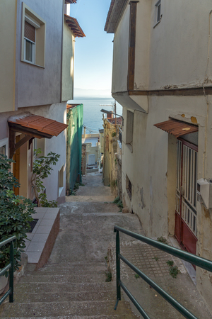 KAVALA, GREECE - DECEMBER 27, 2015: Street in old town of Kavala, East Macedonia and Thrace, Greece