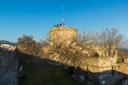 KAVALA, GREECE - DECEMBER 27, 2015:  Tower of the Byzantine fortress in Kavala, East Macedonia and Thrace, Greece