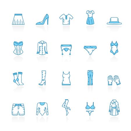 Ligne avec des icônes de vêtements femme fond bleu - jeu d'icônes vectorielles