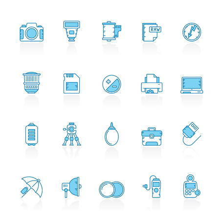 Line with blue background Camera equipment and photography icons - Vector Icon Set