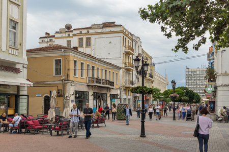 PLOVDIV, BULGARIA - MAY 25, 2018:  Walking people at central street in city of Plovdiv, Bulgaria