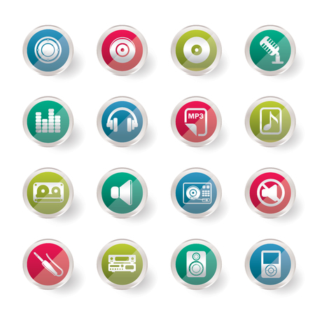 Stylized Music and sound Icons over colored background - Vector Icon Set Ilustração