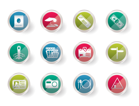Stylized Simple Travel and trip Icons over colored background- Vector Icon Set Illustration