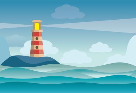 Phare sur le paysage de l'île de pierres de roche - illustration vectorielle Vecteurs