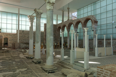 SANDANSKI, BULGARIA - APRIL 4, 2018: Ruins of Episcopal complex with basilica in town of Sandanski, Bulgaria Redakční