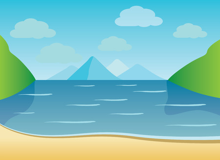 Summer background of beach with waves, clouds - vector illustration