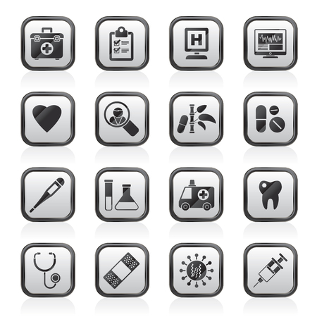 Hospital, medical and healthcare icons - vector icon set
