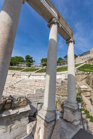 PLOVDIV, BULGARIA - MAY 1, 2016: Ruins of Ancient Roman theatre in Plovdiv, Bulgaria Banque d'images - 123130921