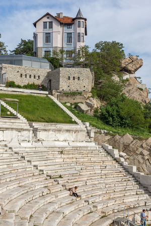 PLOVDIV, BULGARIA - MAY 1, 2016: Ruins of Ancient Roman theatre in Plovdiv, Bulgaria Banque d'images - 123130930