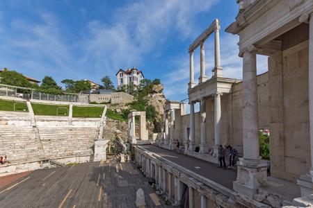 PLOVDIV, BULGARIA - MAY 1, 2016: Ruins of Ancient Roman theatre in Plovdiv, Bulgaria