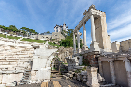 PLOVDIV, BULGARIA - MAY 1, 2016: Ruins of Ancient Roman theatre in Plovdiv, Bulgaria Banque d'images - 123130942
