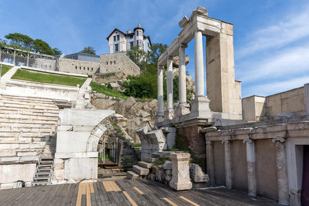 PLOVDIV, BULGARIA - MAY 1, 2016: Ruins of Ancient Roman theatre in Plovdiv, Bulgaria Banque d'images - 123130966