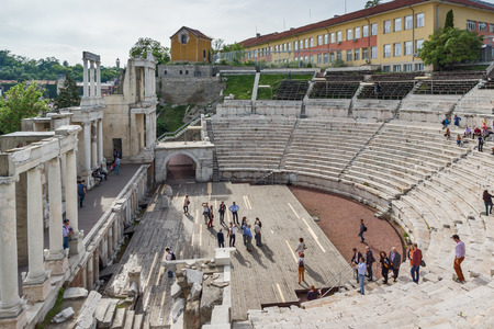 PLOVDIV, BULGARIA - MAY 1, 2016: Ruins of Ancient Roman theatre in Plovdiv, Bulgaria Banque d'images - 123130968