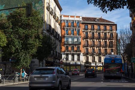 MADRID, SPAIN - JANUARY 23, 2018: Facade of typical Buildings in  City of Madrid, Spain Redakční
