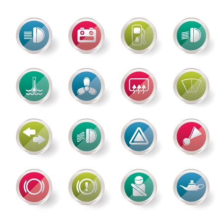Car Dashboard over colored background  - simple vector icons set