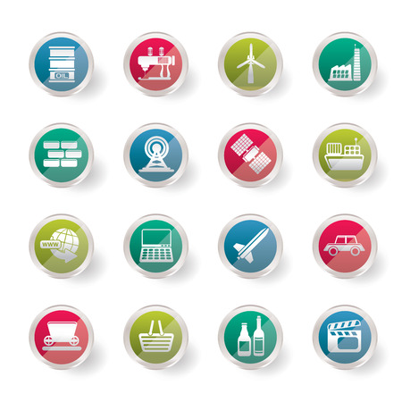 Simple Business and industry icons over colored background - Vector Icon Set