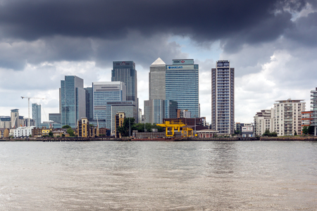 LONDON, ENGLAND - JUNE 17, 2016: Canary Wharf view from Greenwich, London, England, Great Britain