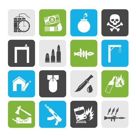 terrorism and gangster equipment icons - vector icon set