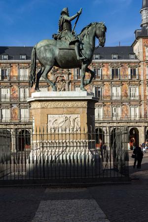 MADRID, SPAIN - JANUARY 23, 2018:  Facade of Buildings at Plaza Mayor in Madrid, Spain