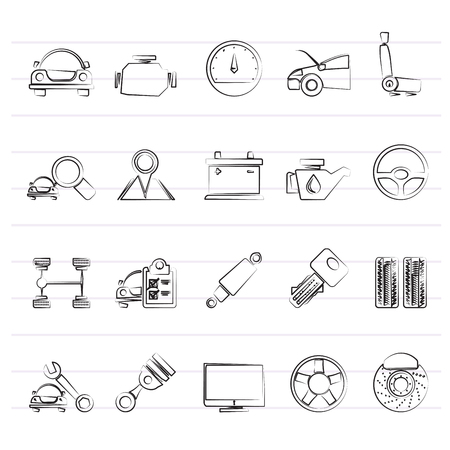 Auto service and car part icons - vector icon set