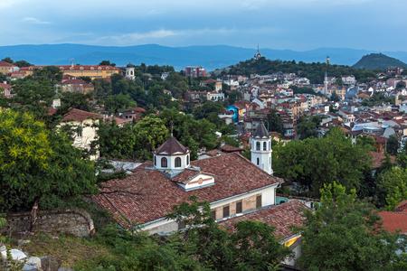 PLOVDIV, BULGARIA - MAY 24, 2018: Night Panoramic cityscape of Plovdiv city from Nebet Tepe hill, Bulgaria