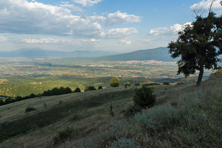 Sunset Landscape of Ograzhden Mountain and Petrich Valley, Blagoevgrad Region, Bulgaria