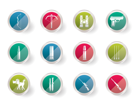 Hunting and arms Icons over colored background - Vector Icon Set
