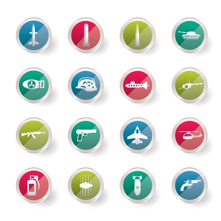 Icônes simples d'armes, d'armes et de guerre sur fond coloré - jeu d'icônes vectorielles