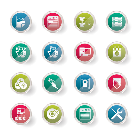 Server Side Computer icons over colored background - Vector Icon Set