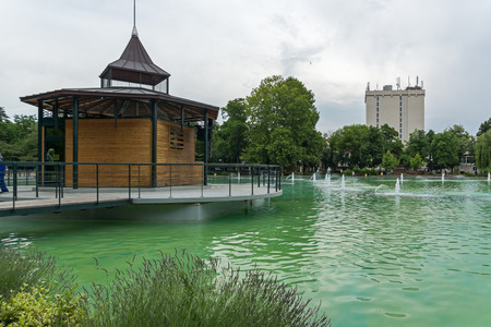 PLOVDIV, BULGARIA - MAY 25, 2018: Panoramic view of Singing Fountains in City of Plovdiv, Bulgaria