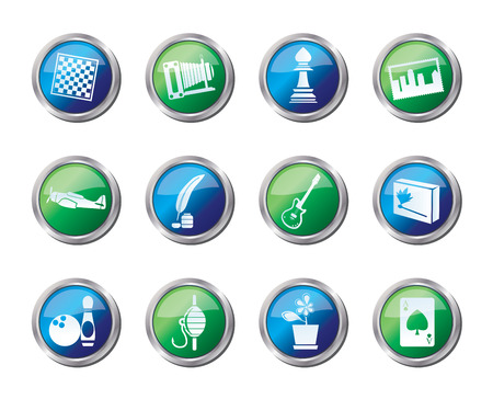 Hobby, Leisure and Holiday Icons over colored background - Vector Icon Set Illustration