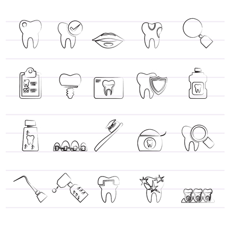 dental medicine and dentistry tools icons  - Vector Icon set Illustration