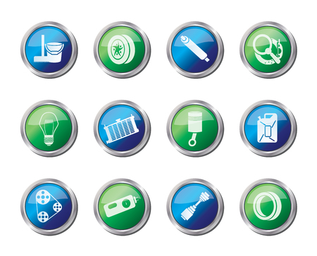 Car Parts and Services icons over colored background - Vector Icon Set 2