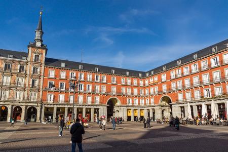 MADRID, SPAIN - JANUARY 23, 2018: Tourist visiting Plaza Mayor in city of Madrid, Spain