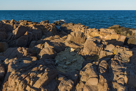 SOZOPOL, BULGARIA - JULY 16, 2016: Rocks at coastline of town of Sozopol,  Burgas Region, Bulgaria