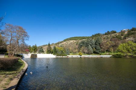 SANDANSKI, BULGARIA - APRIL 4, 2018: Spring view of lake in park St. Vrach in town of Sandanski, Bulgaria