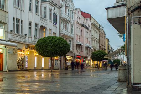 PLOVDIV, BULGARIA - APRIL 29, 2017:  Night photo of Walking street in the center of city of Plovdiv, Bulgaria