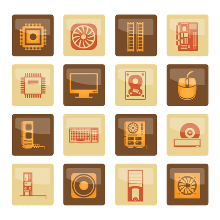 Computer performance and equipment icons over brown background - vector icon set Vektorové ilustrace