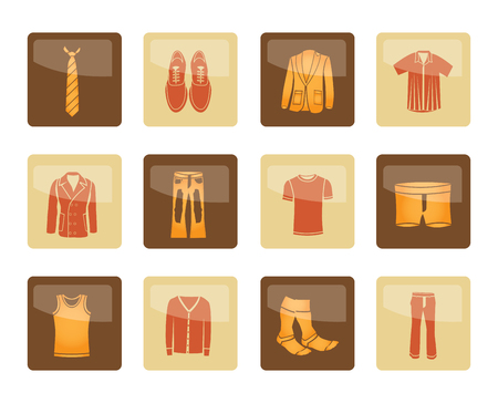 Man fashion and clothes icons over brown background - vector icon set