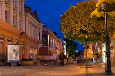 PLOVDIV, BULGARIA - AUGUST 22,  2017: Night photo of Knyaz Alexander I street in city of Plovdiv, Bulgaria