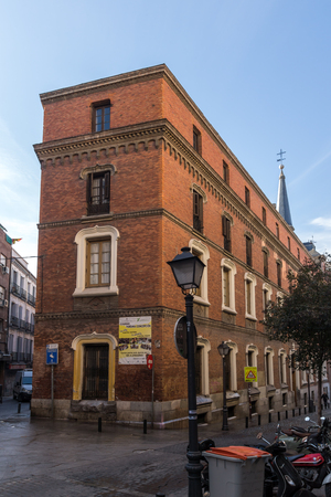 MADRID, SPAIN - JANUARY 24, 2018: Facade of typical Buildings and streets in City of Madrid, Spain Redakční