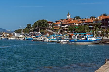 NESSEBAR, BULGARIA - AUGUST 12, 2018: Panorama with fishing boat at The Port of Nessebar, Burgas Region, Bulgaria